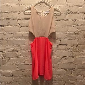 Toni color block dress with side cut outs